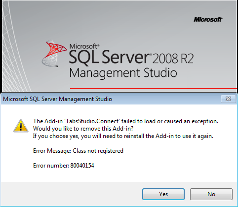 Class not registered error 80040154 in SSMS