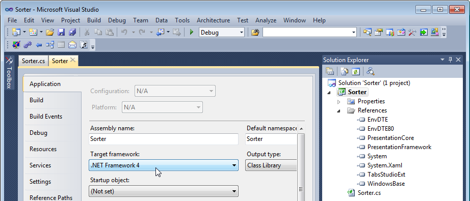 Setting target framework for an add-in to .NET Framework 4