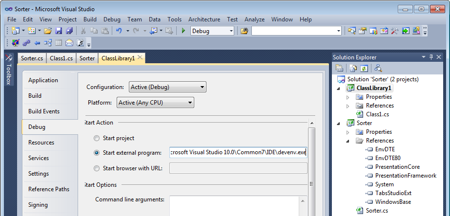 Setting the dummy StartUp project to start VS 2010 IDE