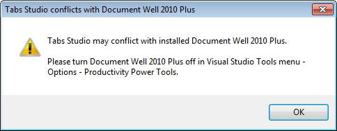 Tabs Studio conflicts with Document Well 2010 Plus warning