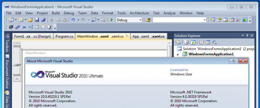 Tabs Studio in Visual Studio 2010 Service Pack 1